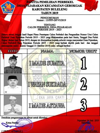 PENGUMUMAN PILKEL PERIODE 2019-2025 (VOTE FOR DEMOCRACY PEJARAKAN)